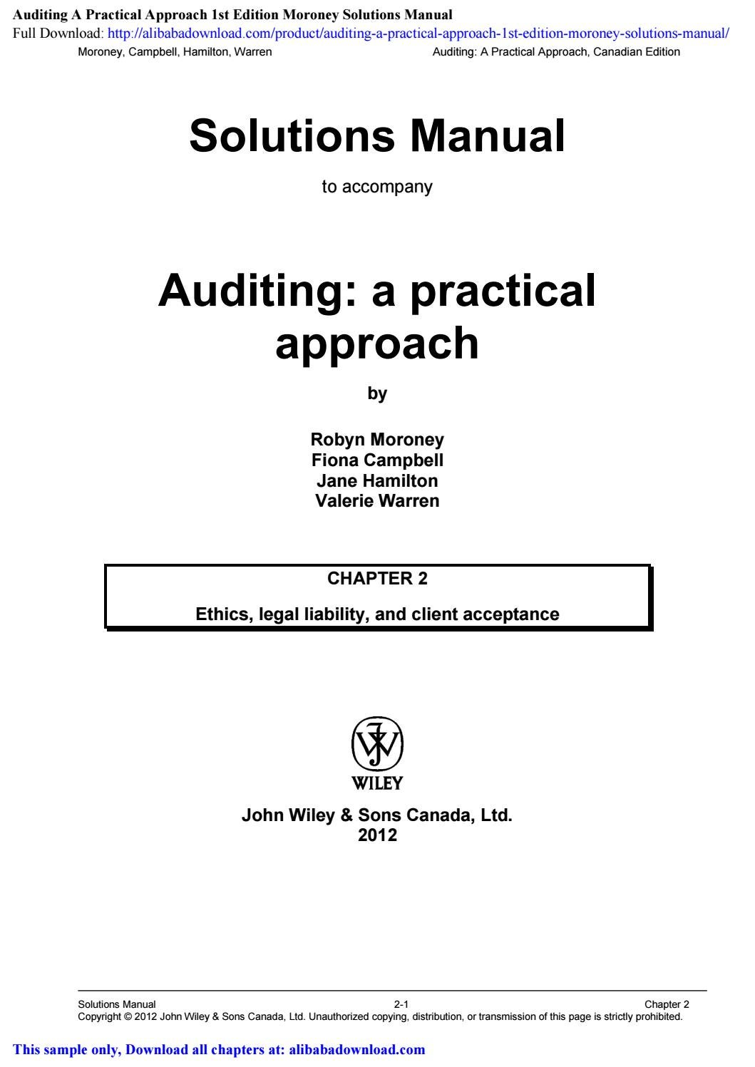 Auditing A Practical Approach 1st Edition Moroney