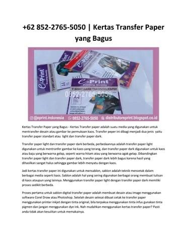 Cara Menggunakan Kertas Transfer Paper : menggunakan, kertas, transfer, paper, 852-2765-5050, Kertas, Transfer, Paper, Bagus, Eprint, Issuu
