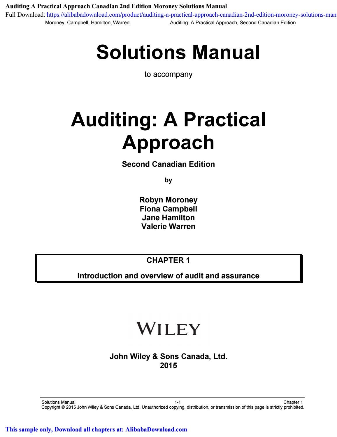 Auditing A Practical Approach Canadian 2nd Edition Moroney