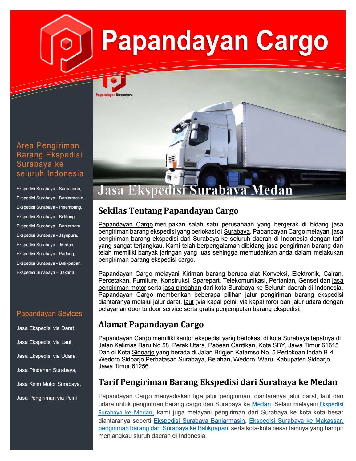Alamat Indah Cargo Surabaya : alamat, indah, cargo, surabaya, Ekspedisi, Surabaya, Medan, Papandayan, Cargo, Issuu