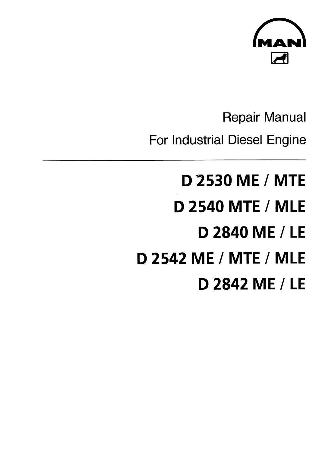 MAN INDUSTRIAL DIESEL ENGINE D 2840 MELE SERIES Service