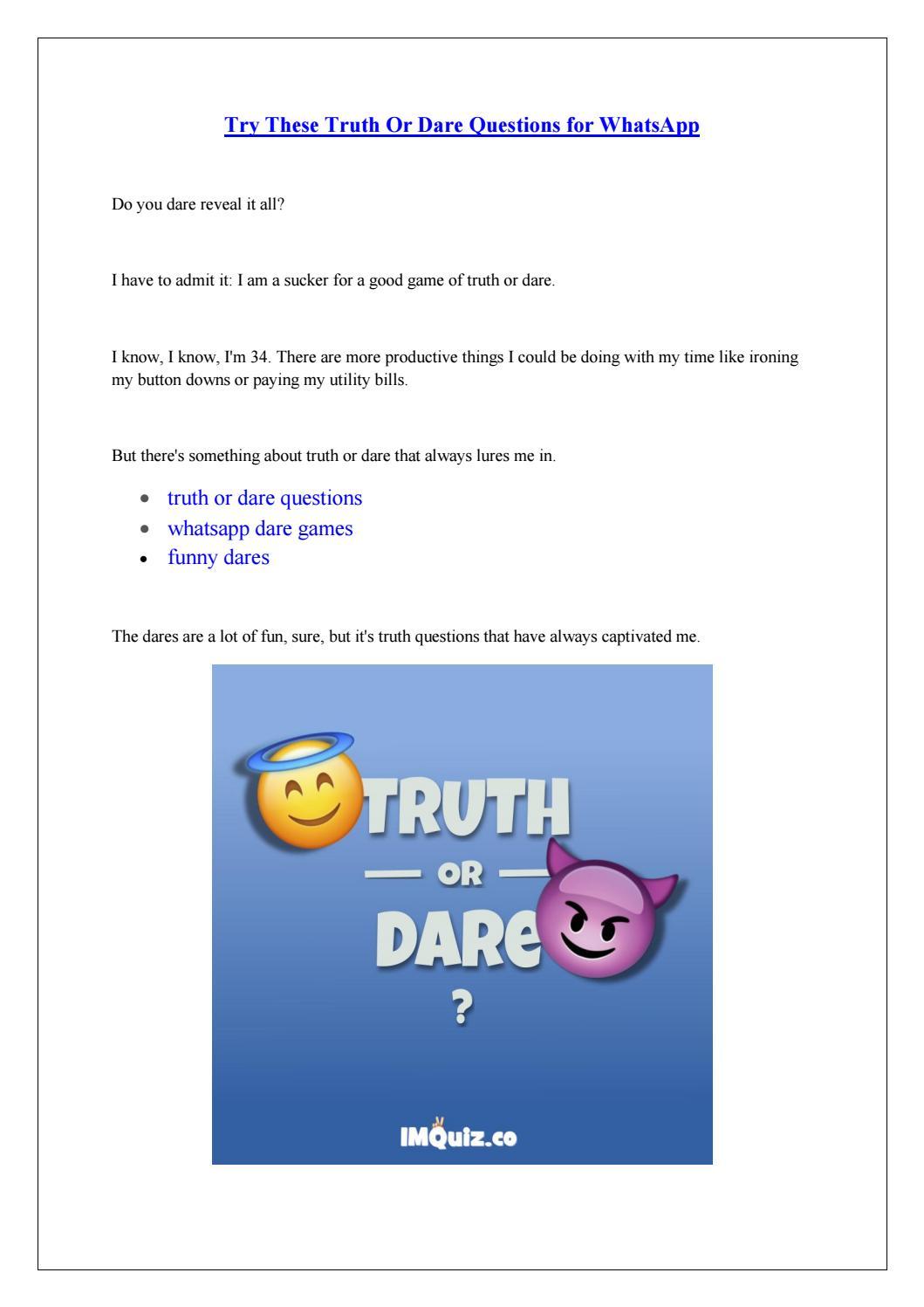 Dare Game Questions Whatsapp : questions, whatsapp, Truth, Questions, Funny, WhatsApp, Games, Friends,, Couples, Panikkrsar, 5642Thakoren, Issuu