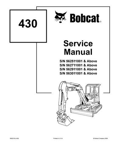 BOBCAT 430 COMPACT EXCAVATOR Service Repair Manual SN