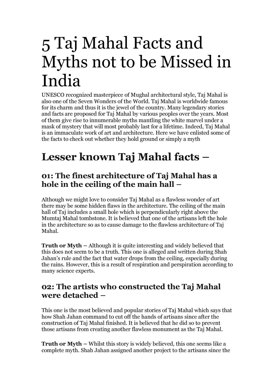 5 Taj Mahal Facts And Myths Not To Be Missed In India By Top Indian Holidays Issuu