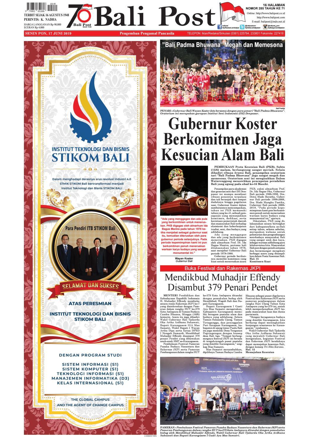 Asal tari dan jenis penampilan tari sesuai dengan gambar. Edisi Sanin 17 Juni 2019 Balipost Com By E Paper Kmb Issuu
