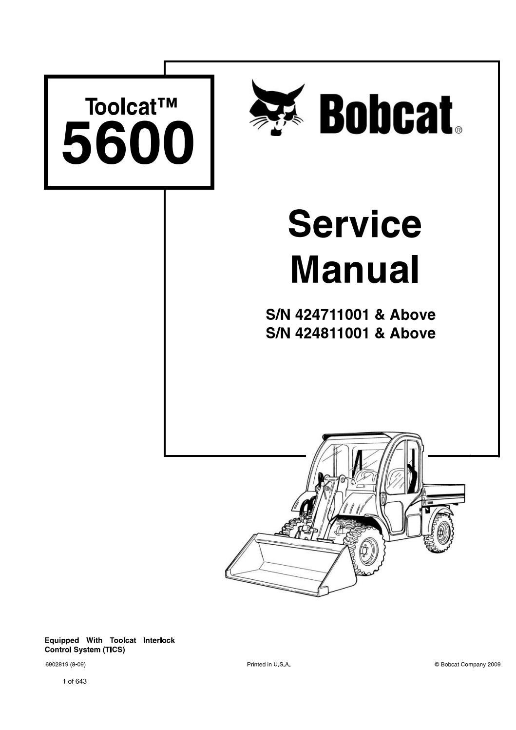 Bobcat Toolcat 5600 Utility Work Machine Service Repair