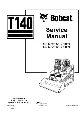 Bobcat T140 Compact Track Loader Service Repair Manual (S