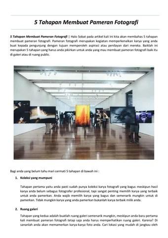 Tahapan Pameran : tahapan, pameran, Membuat, Pameran, Fotografi, Webarthurteknik, Issuu