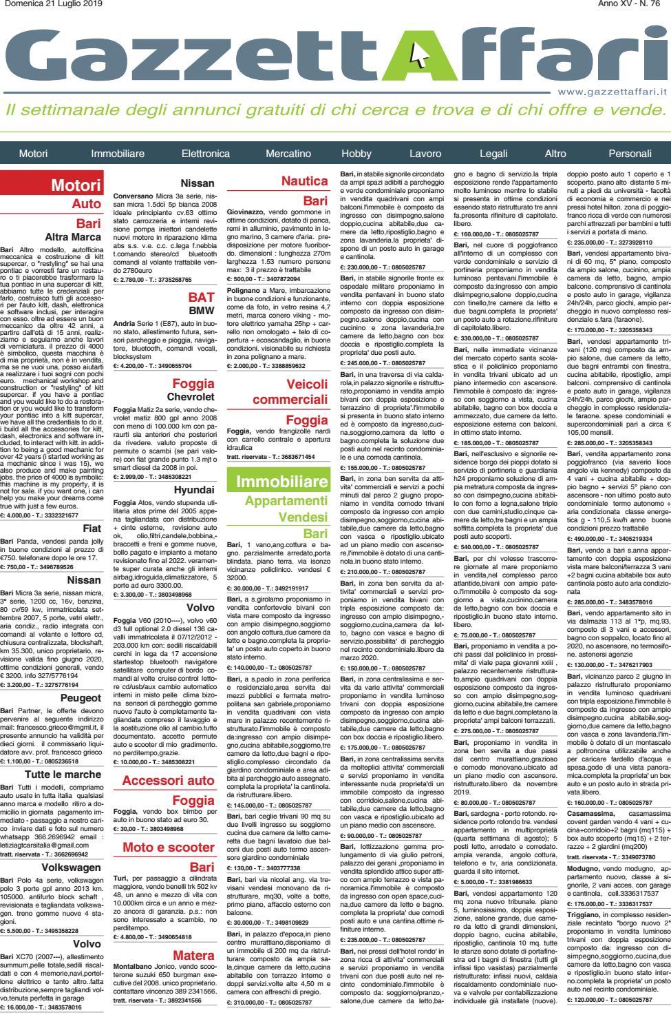 Gazzetta Affari Del 21072019 By La Gazzetta Del