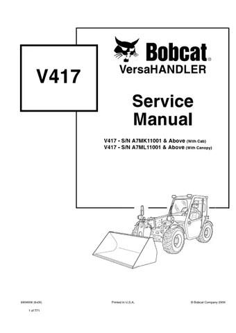 Bobcat V417 VersaHandler Service Repair Manual (S/N