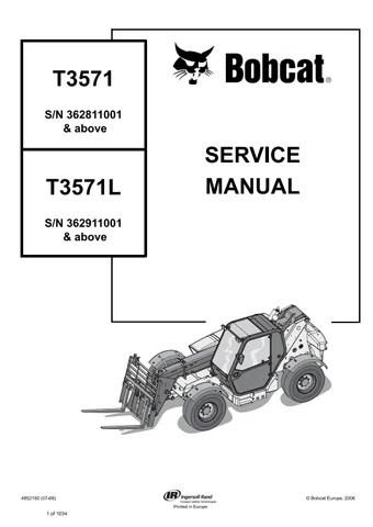 Bobcat T3571, T3571L Telescopic Handler Service Repair