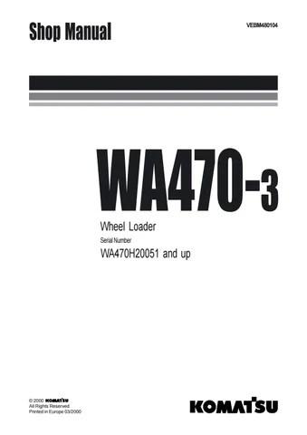 Komatsu WA470-3 Wheel Loader Service Repair Manual SN
