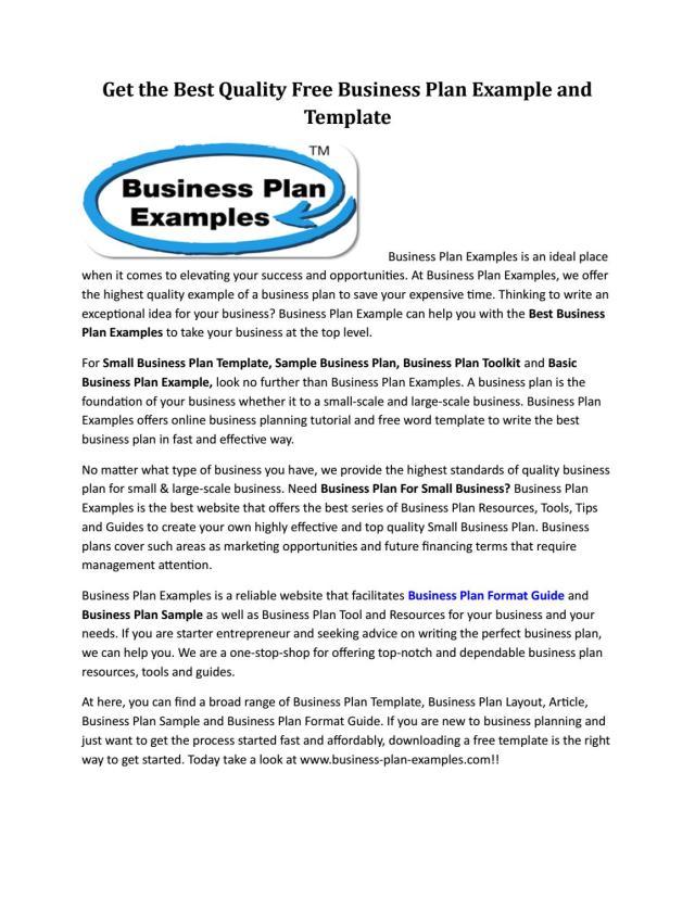 Business Plan Template by ebonyelbert - issuu