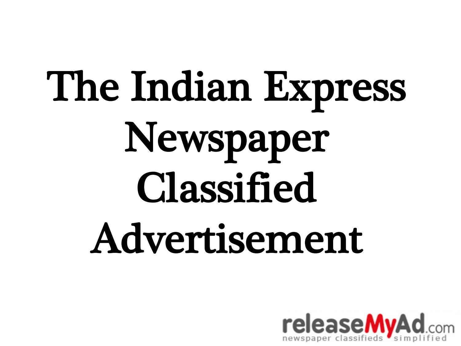 The Indian Express Newspaper Classified Advertisement by