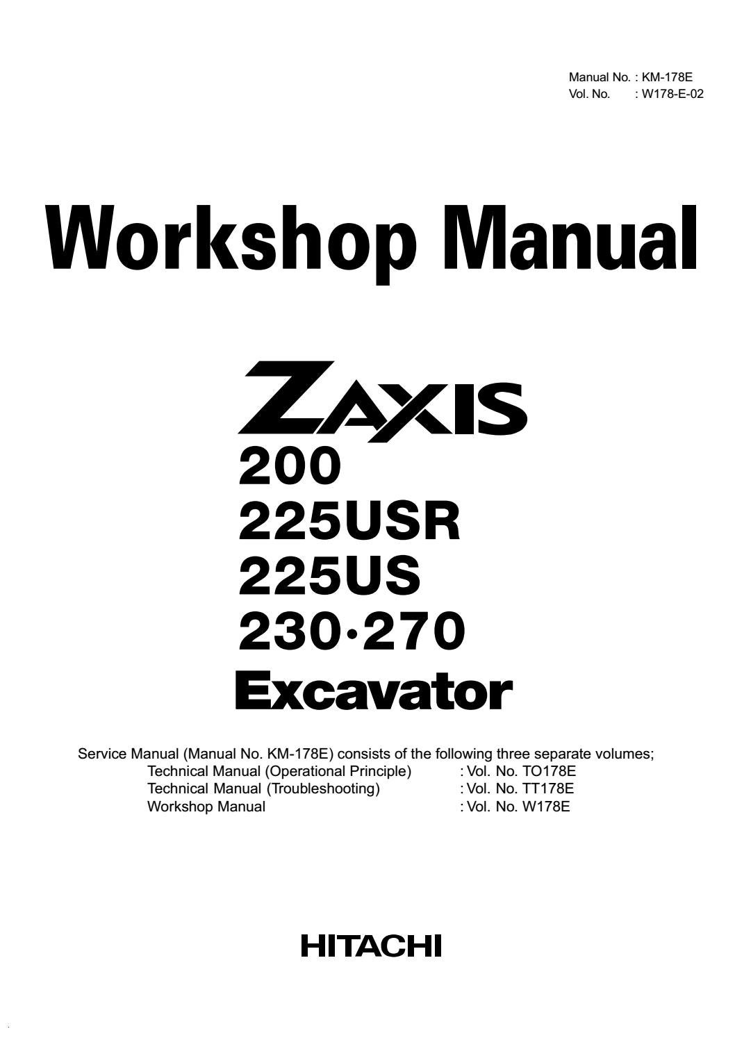 HITACHI ZAXIS 225USRLC EXCAVATOR Service Repair Manual by