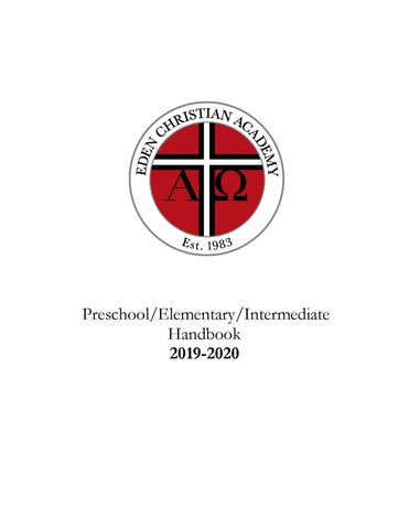 2019-2020 Preschool/Elementary/Intermediate Handbook by