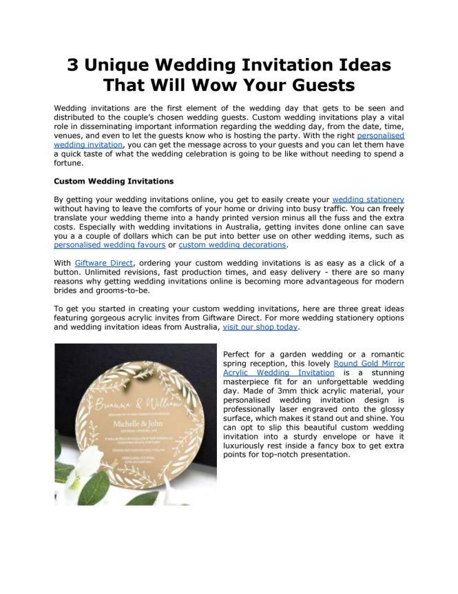 3 Unique Wedding Invitation Ideas That