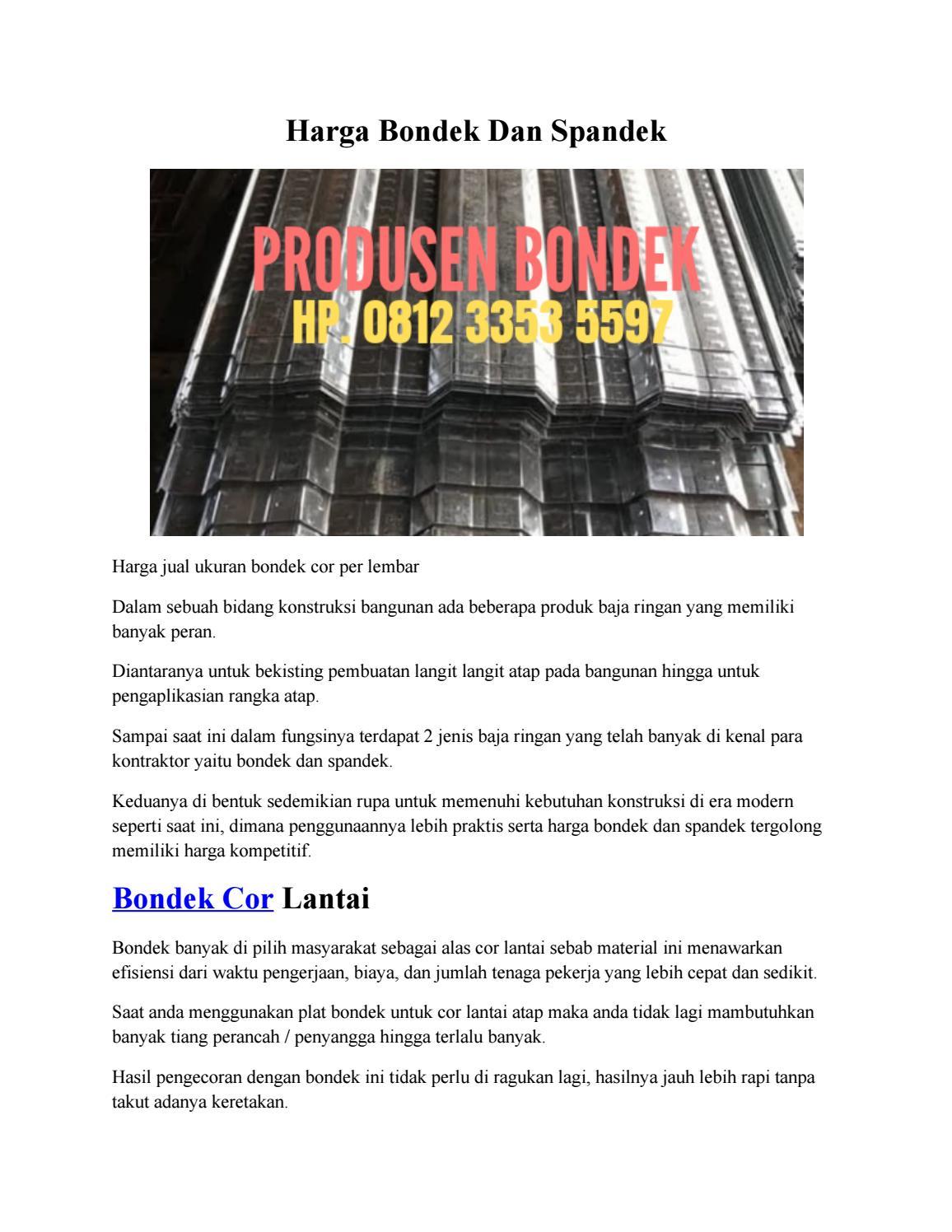 harga baja ringan buat ngecor bondek dan spandek hp 0812 3353 5597 by jualbondeksde issuu