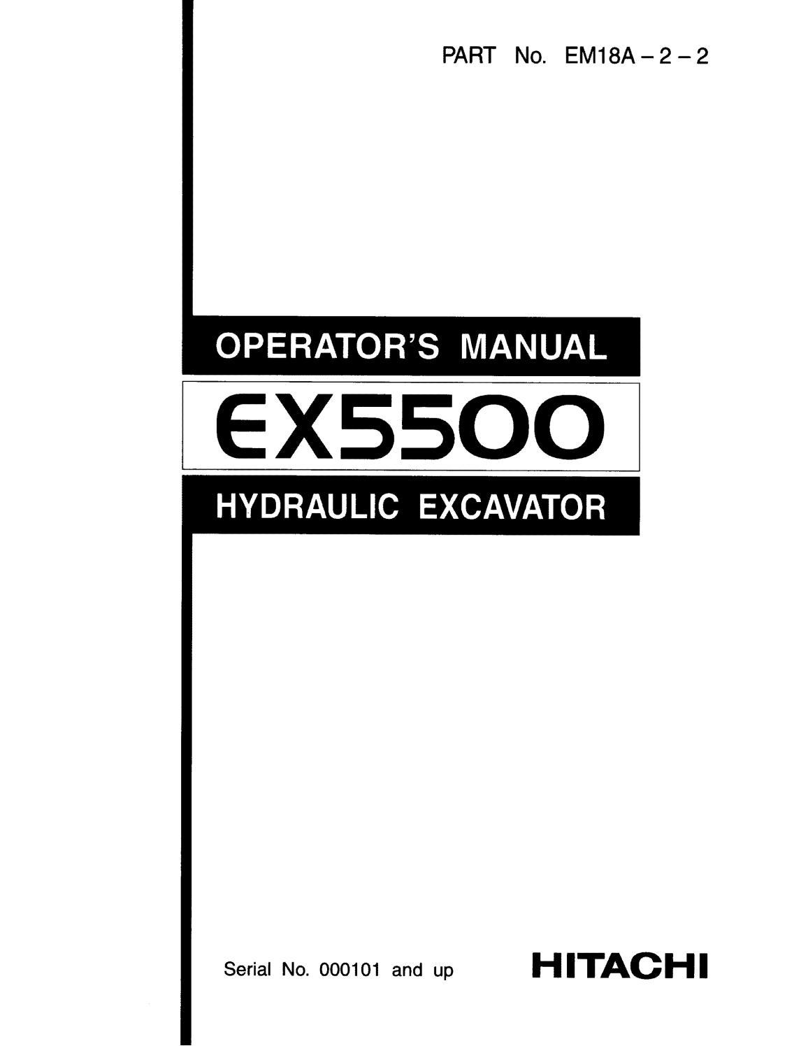 Hitachi EX5500 Hydraulic Excavator operator's manual