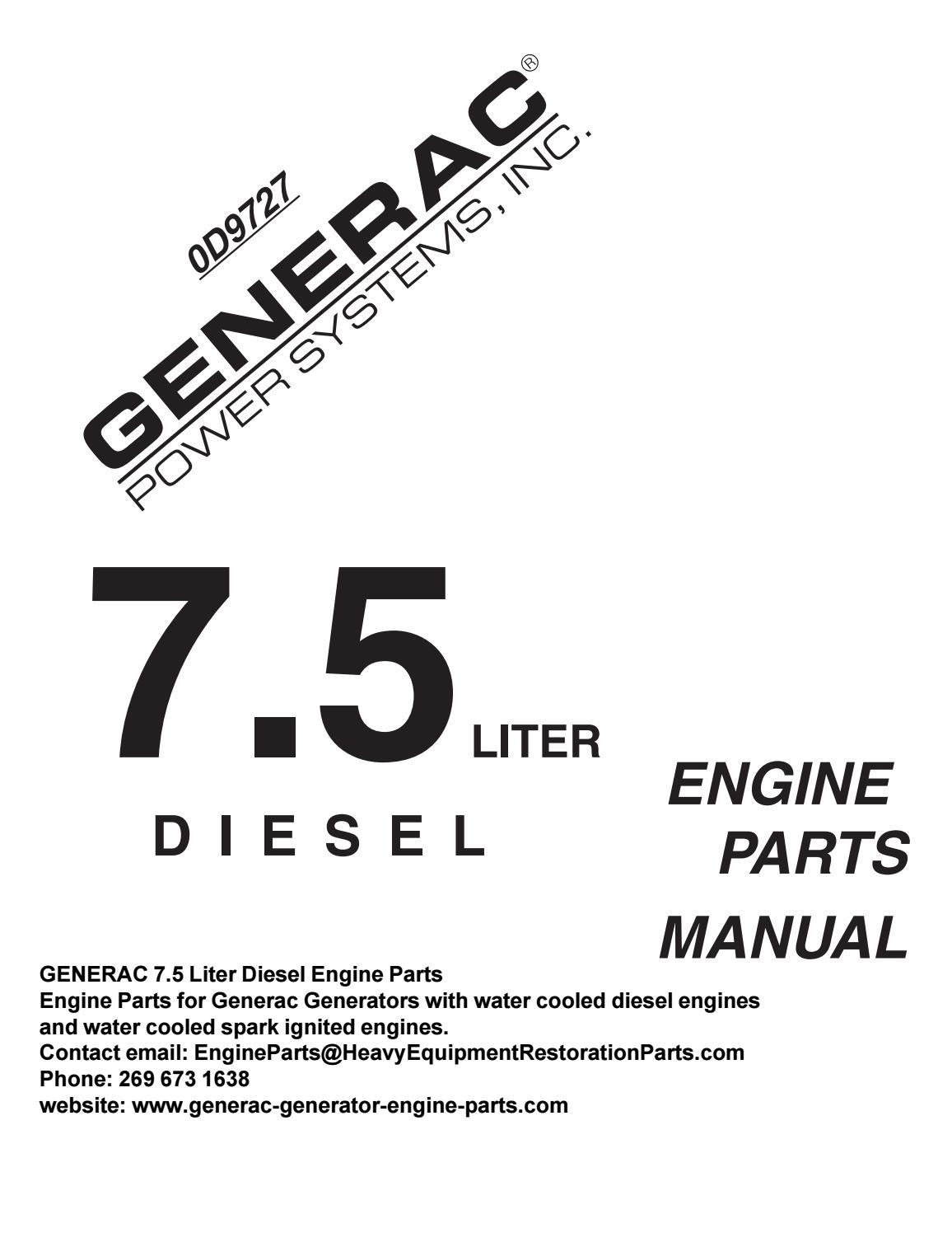 GENERAC 0D5703 Mitsubishi Diesel Engine Parts Manual 7.5