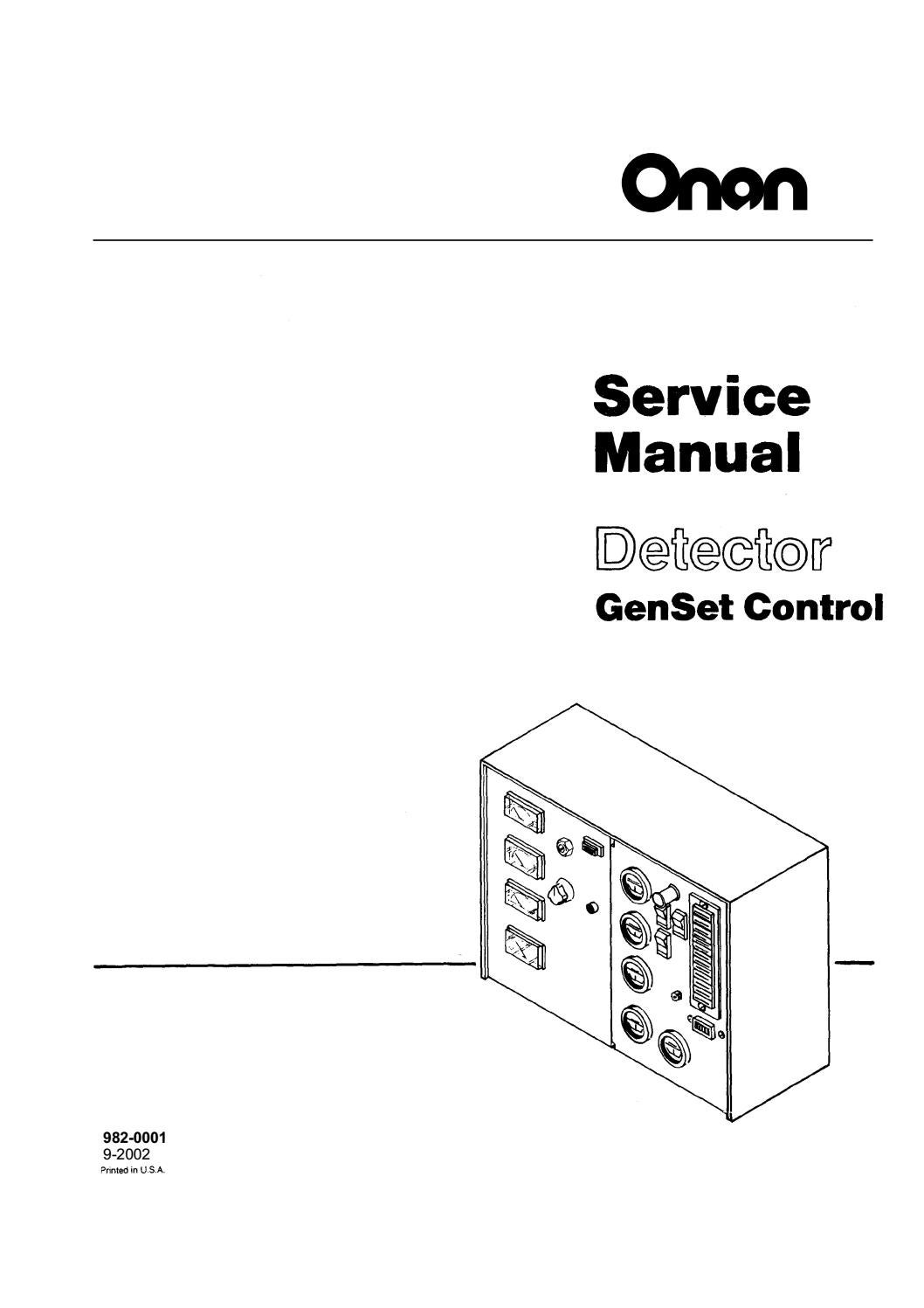 Cummins Onan Detector Genset Control Service Repair Manual