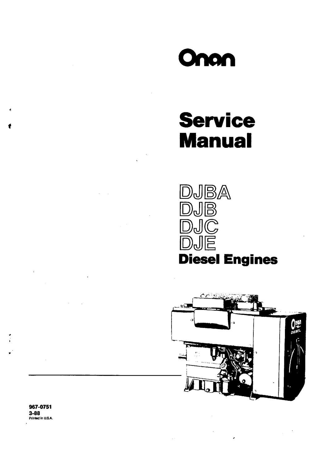 Cummins Onan DJB Diesel Engine Service Repair Manual by