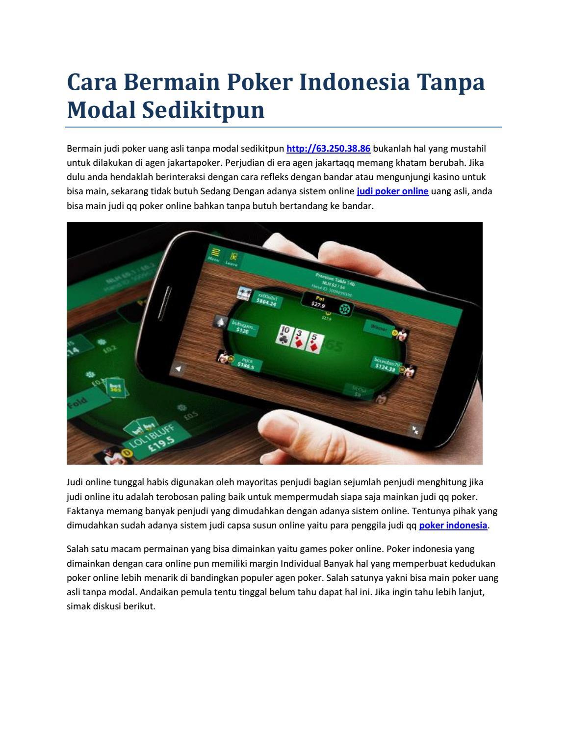 Main Poker Dapat Uang Tanpa Modal - couveuselacapitelle.com