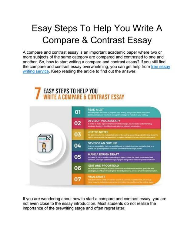 Esay Steps To Help You Write A Compare & Contrast Essay -Free