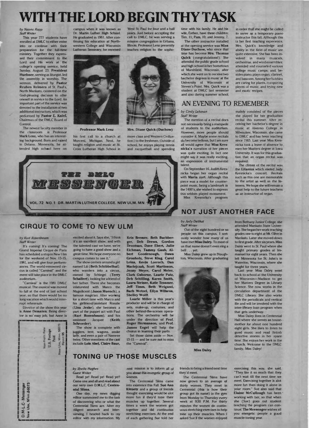 hight resolution of 1981-1982 DMLC Messenger Vol. 72 by Martin Luther College - issuu
