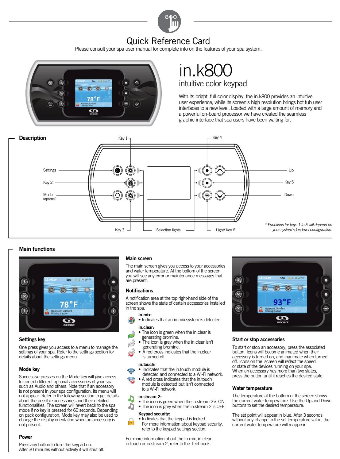 in.k800 color keypad quick reference card by Gecko