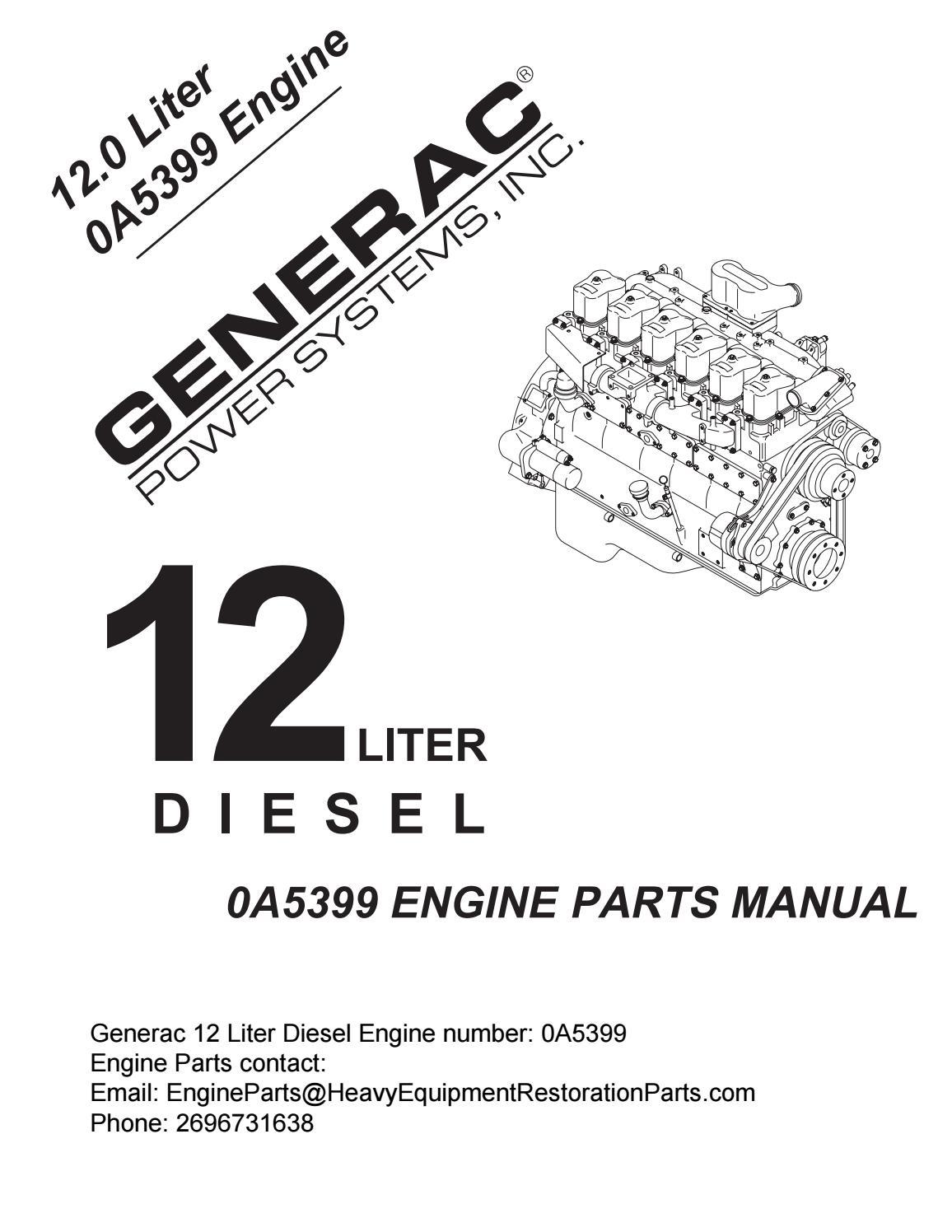 Generac 0A5399 12 Liter Diesel Generator Engine Parts