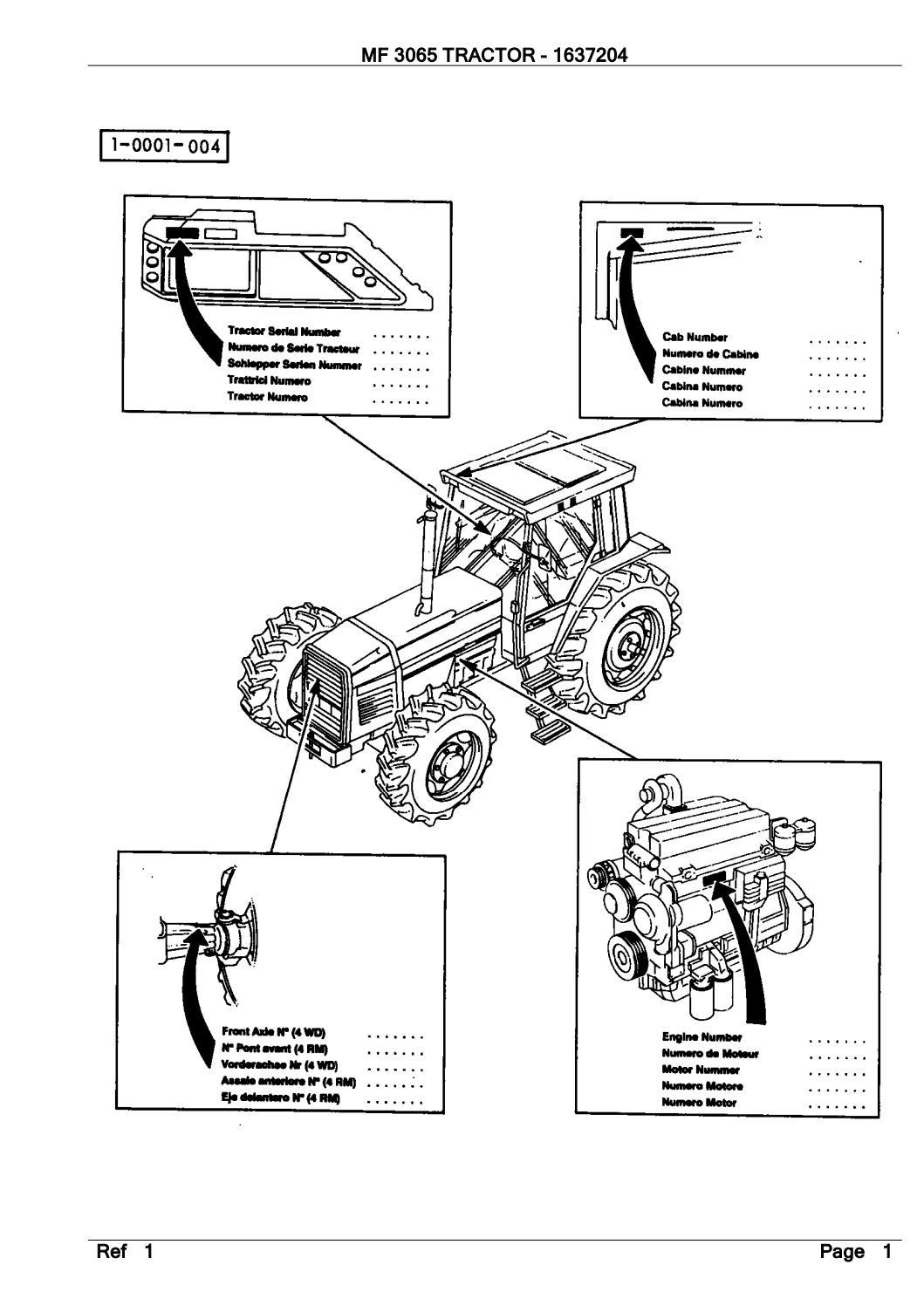 Massey Ferguson MF 3065 TRACTOR Service Parts Catalogue