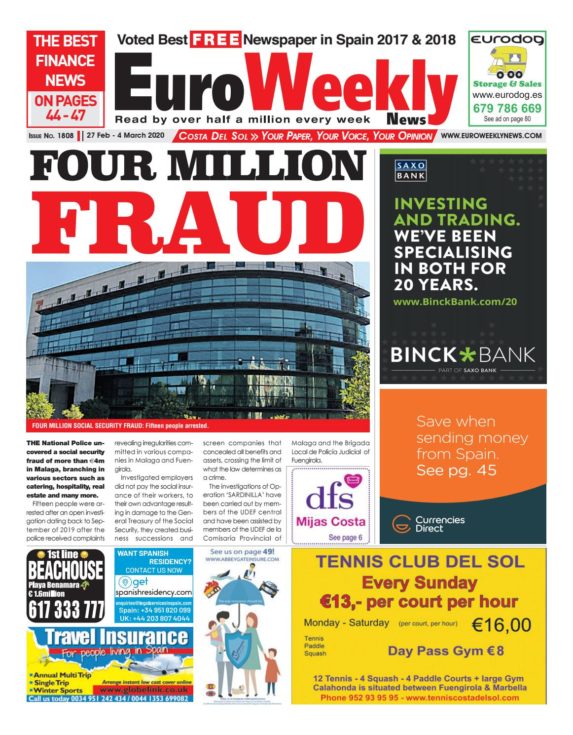 Euro Weekly News Costa Del Sol 27 February 4 March 2020 Issue 1808 By Euro Weekly News Media S A Issuu
