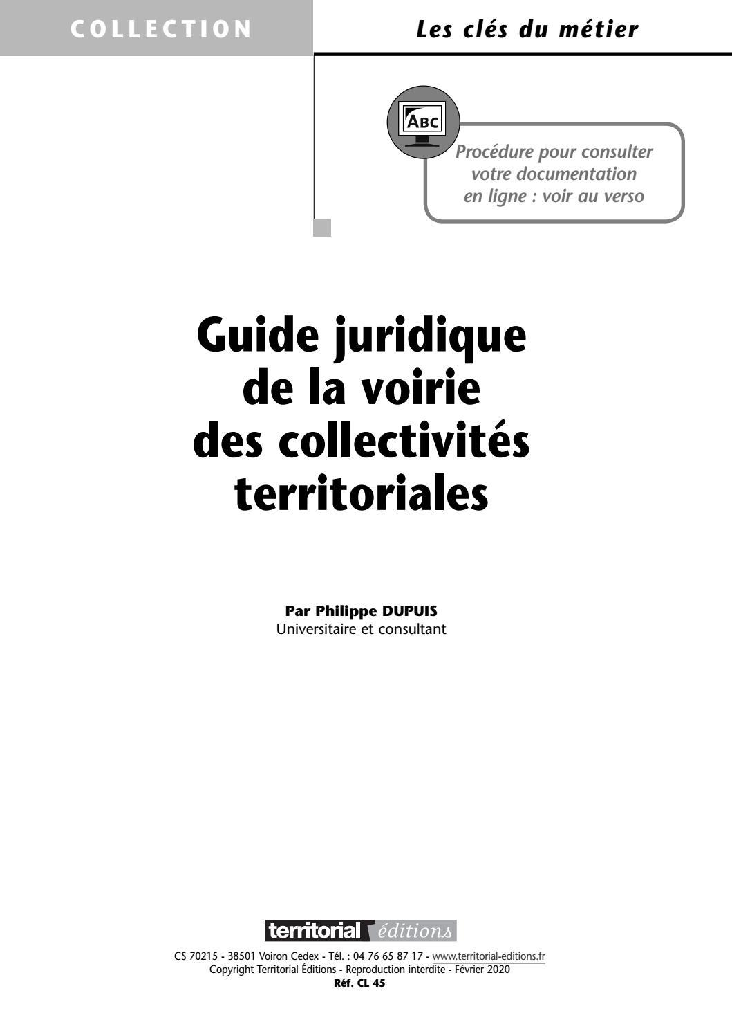 Guide juridique de la voirie des collectivites