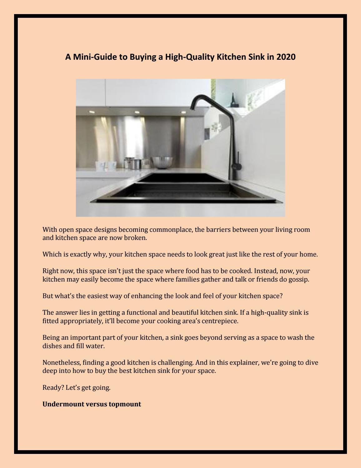 High Quality Kitchen Sink In 2020 By Austpek Bathroom Issuu