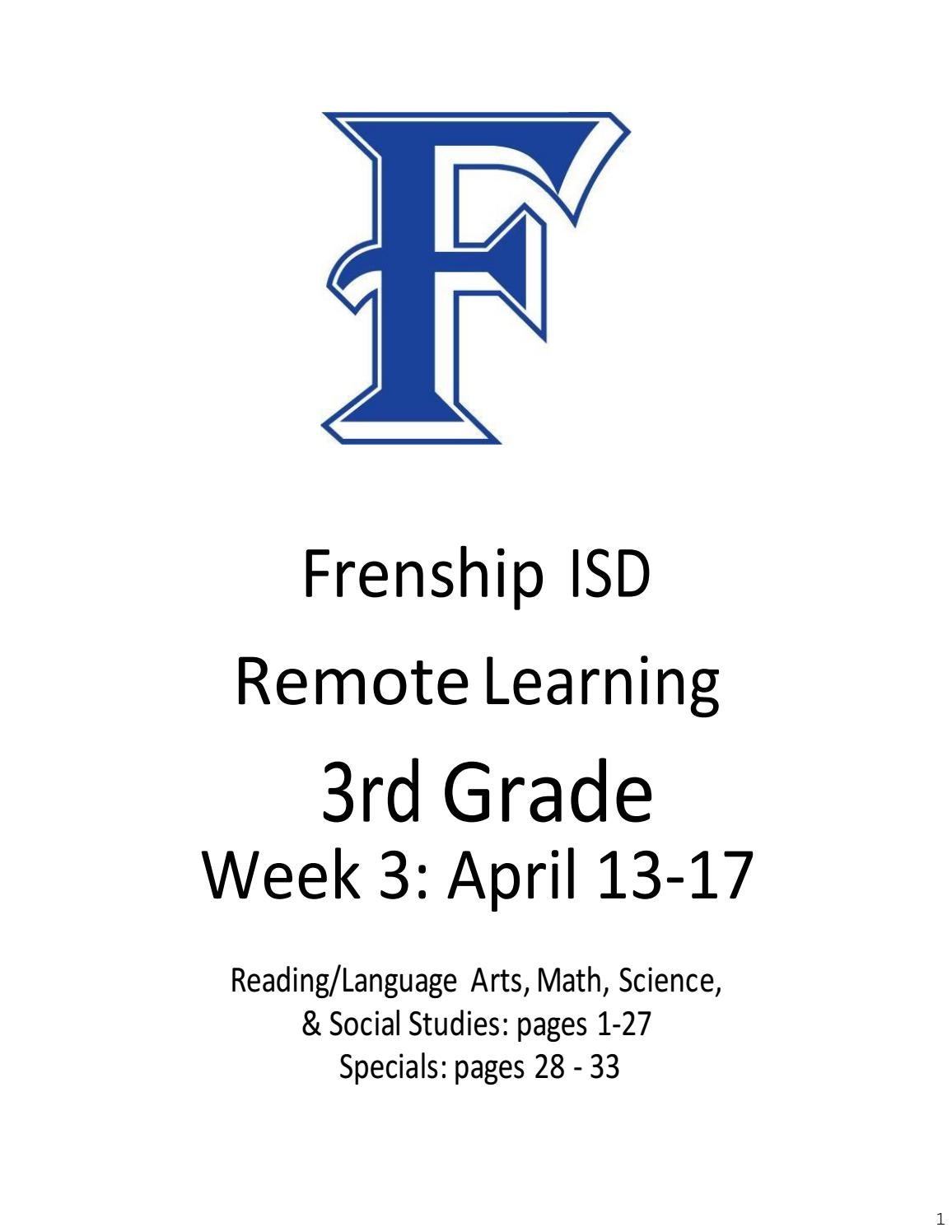 hight resolution of 3rd Grade Remote Learning April 13-17 by frenshipisd - issuu