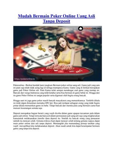 Main Poker Tanpa Modal Dapat Uang : poker, tanpa, modal, dapat, Mudah, Bermain, Poker, Online, Tanpa, Deposit, Issuu