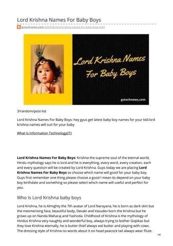 Baby Boy Lord Krishna Names : krishna, names, Krishna, Names, Gstechnews7, Issuu