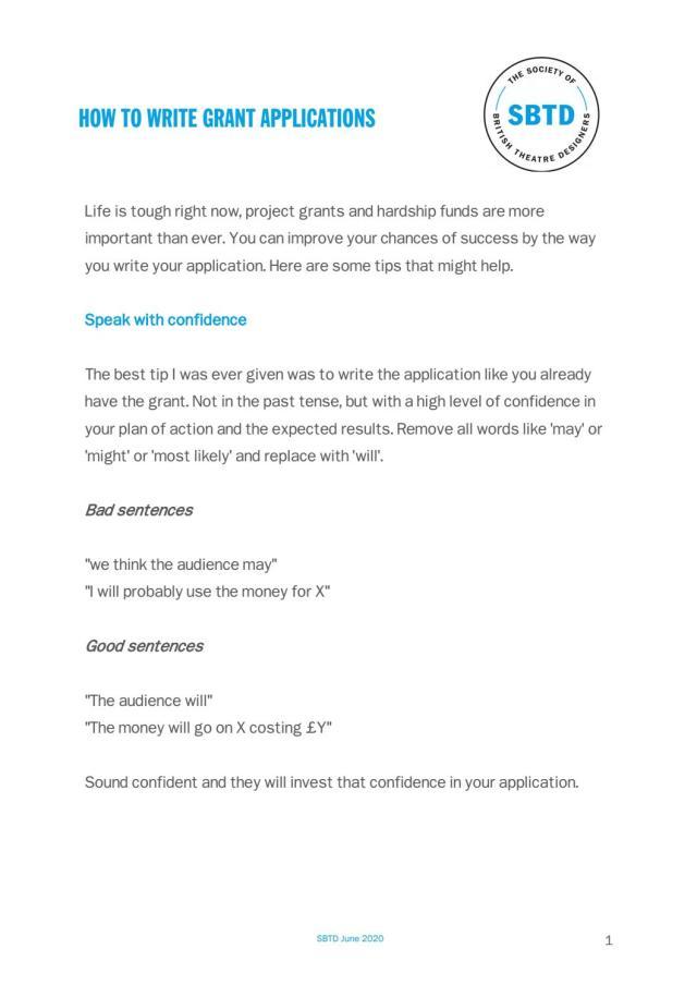 SBTD Guide - Writing Grant Applications.June16 by davidgfarley