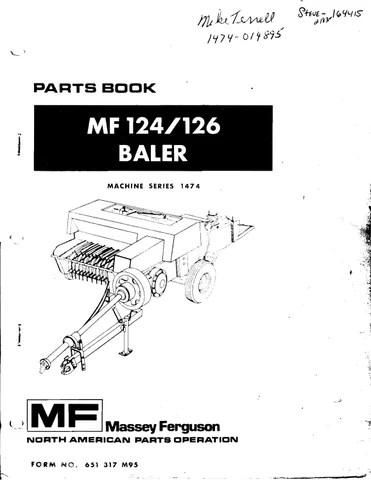 Massey Ferguson Mf 124 126 Baler Parts Manual 651317m95 by
