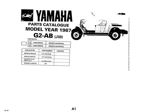 Yamaha G2abj38 Golf Cart Parts Manual Catalog Download