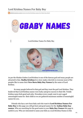 Baby Boy Lord Krishna Names : krishna, names, Krishna, Names, Hareeshponnam47, Issuu