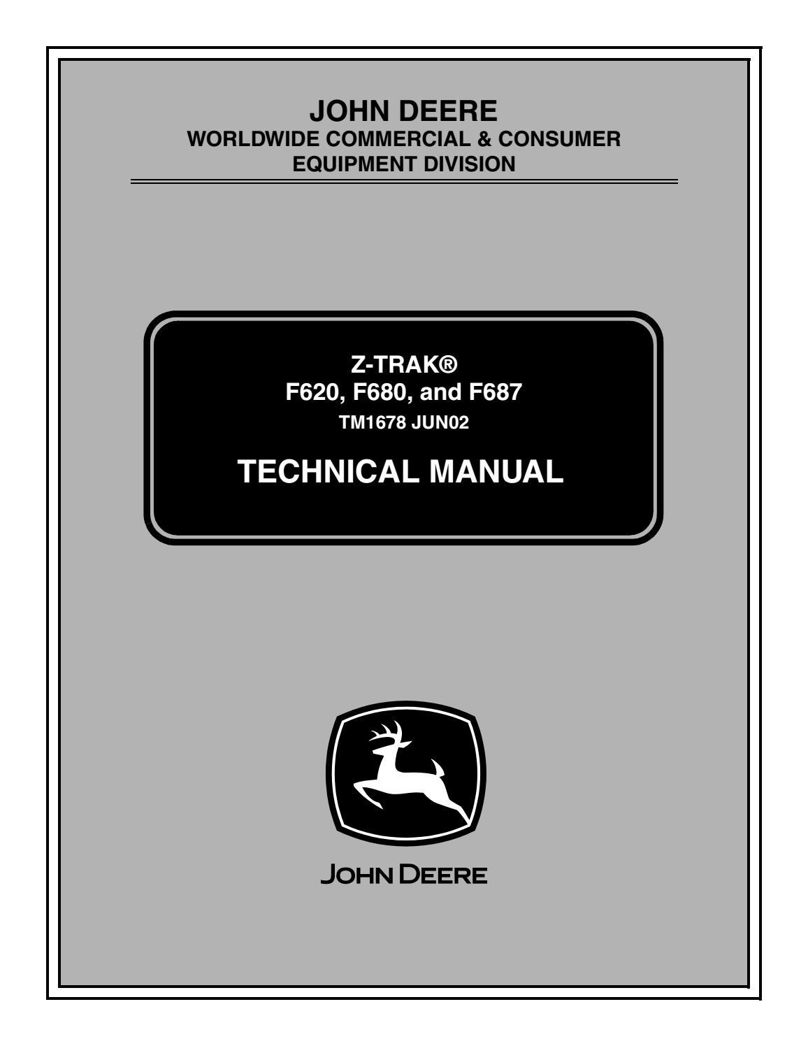 John Deere Z-Trak F620 Mower Service Repair Manual (TM1678