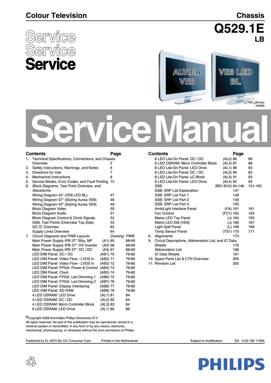 Philips 42PFL9803H Service Manual & Repair Guide