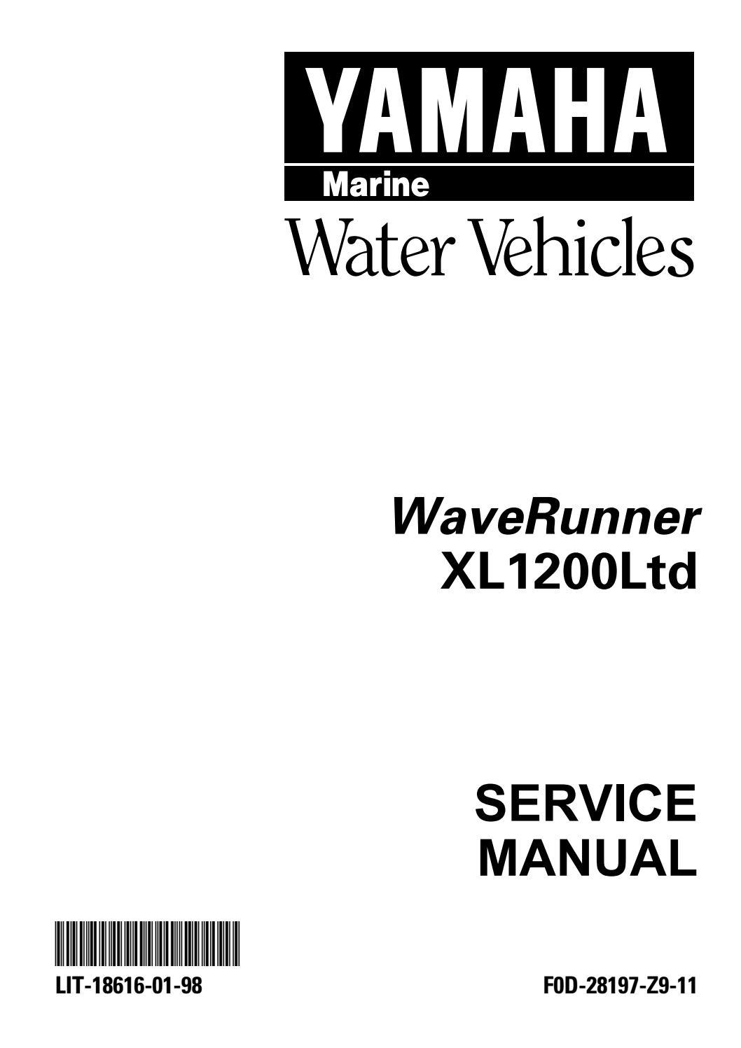 yamaha xl1200 ltd waverunner shop manual 1999-2001 by