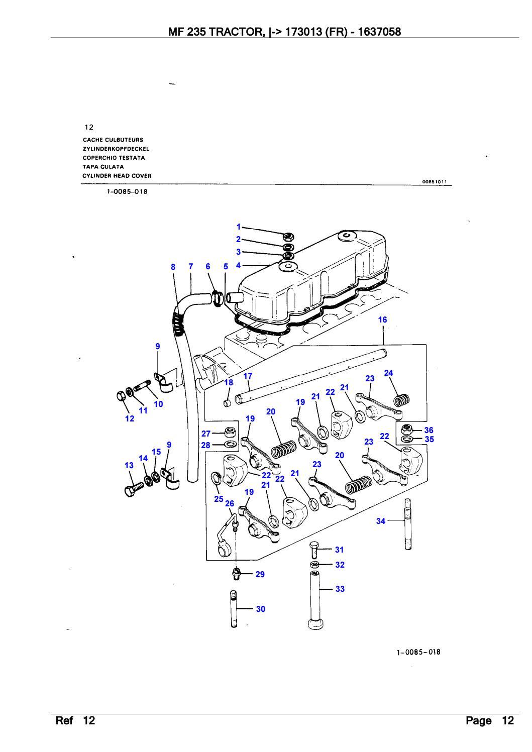 Massey Ferguson MF 235 TRACTOR (FR) Parts Catalogue Manual