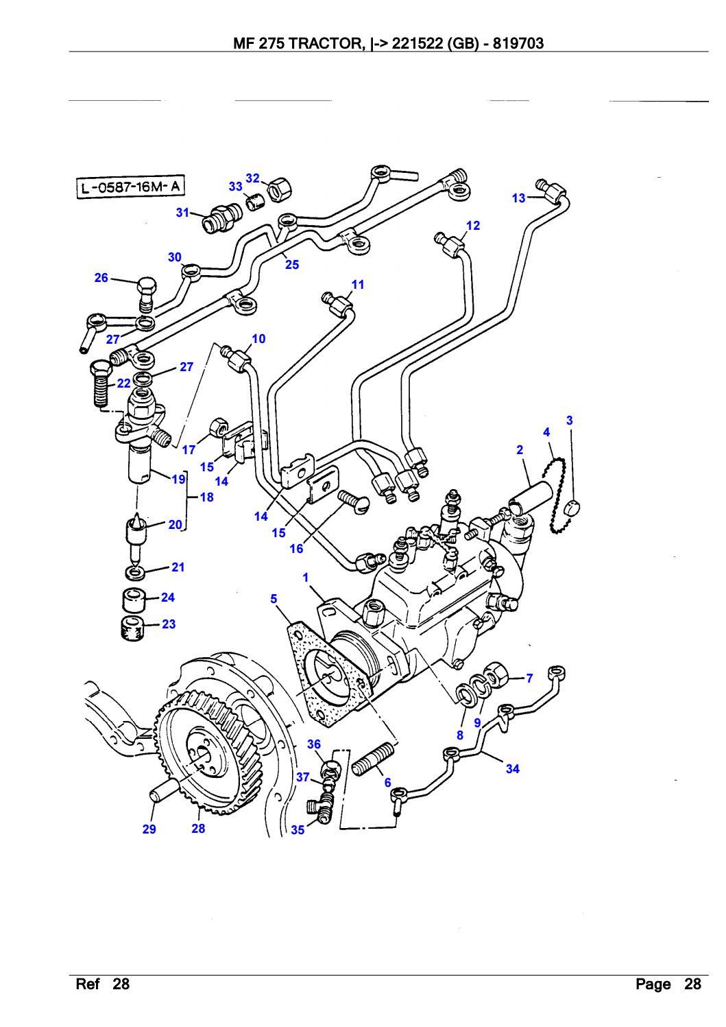 Massey Ferguson MF 275 TRACTOR (- 221522 (GB)) Parts