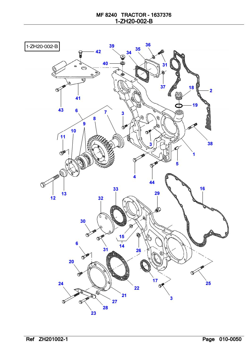 Massey Ferguson MF8240 TRACTOR Parts Catalogue Manual by