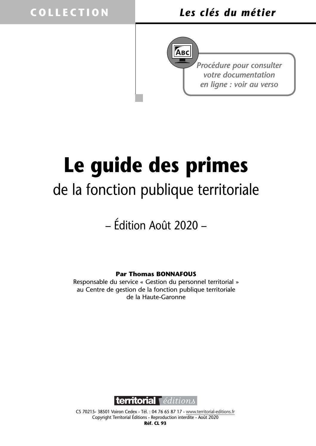 Guide des primes 2012 - Forum de la Fonction Publique