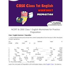 NCERT \u0026 CBSE Class 1 English Worksheet for Practice Preposition by  Online_Education - issuu [ 1497 x 1059 Pixel ]